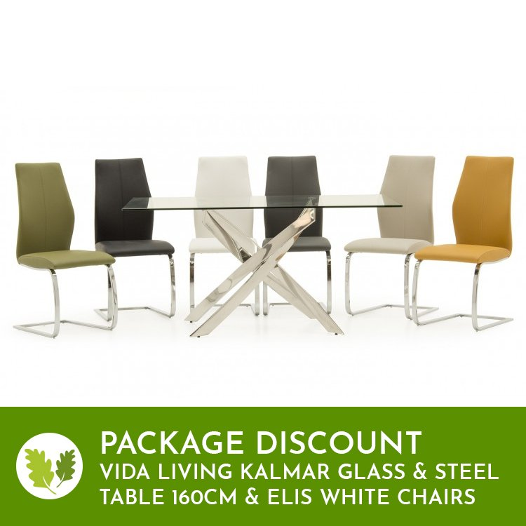 Vida Living Kalmar Glass & Steel Table 160cm & Elis White Chairs