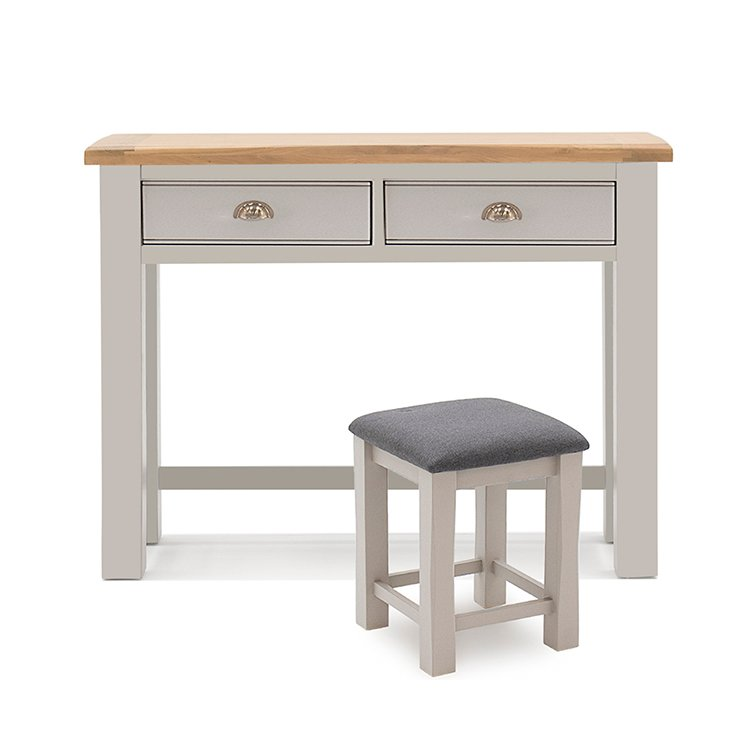 Vida Living Amberly Grey Painted & Oak Dressing Table and Stool Set