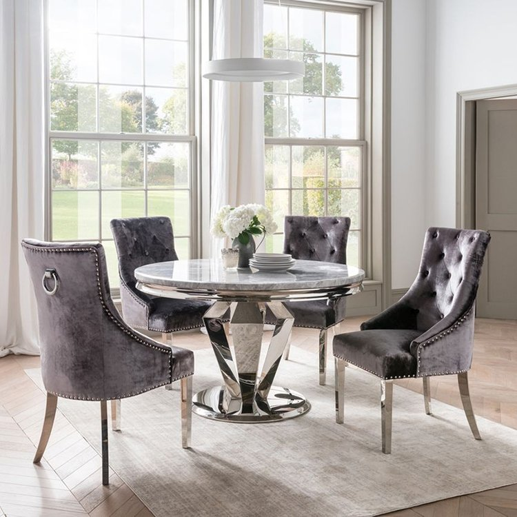 Vida Living Arturo Grey Marble 130cm Round Table & 4 Charcoal Chairs