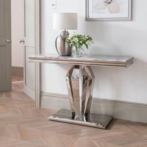 Vida Living Arturo Grey Marble and Chrome Console Table