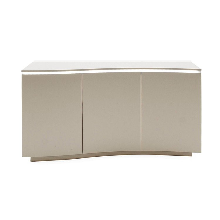Vida Living Lazzaro Cappuccino Painted Furniture 3 Door Sideboard with LED