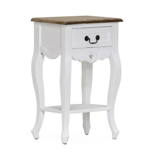 Vida Living Maeve White Painted Furniture 1 Drawer Bedside Table