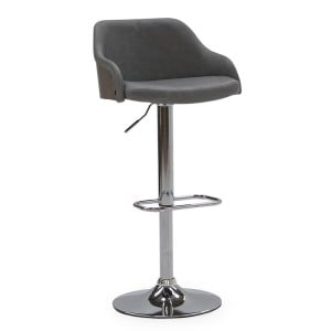Vida Living Fossil Grey Faux Leather Bar Chair with Gas Lift