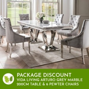 Vida Living Arturo Grey Marble 200cm Dining Table & 6 Belvedere Pewter Chairs