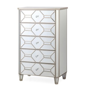 Vida Living Rosa Mirrored Furniture 5 Drawer Tall Chest