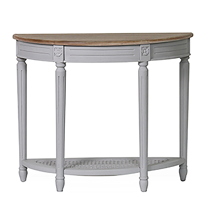 Vida Living Rowan Antique Grey Painted Furniture Half Moon Console Table