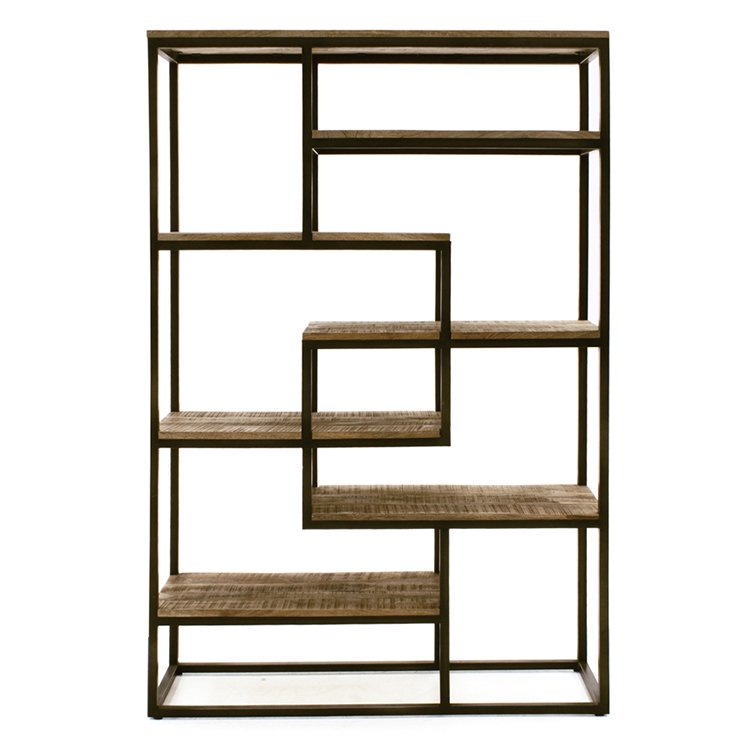 Vida Living Savannah Industrial Furniture Natural Tall Wide Bookcase