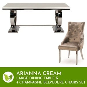 Vida Cream Arianna Large Dining Table & 4 Belvedere Champagne Chairs