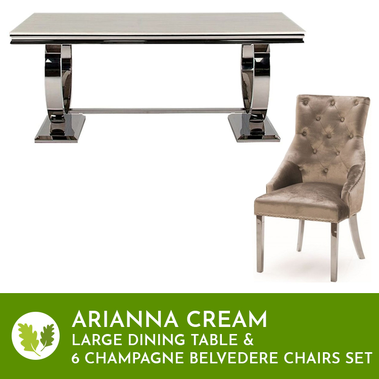 Vida Cream Arianna Large Dining Table & 6 Belvedere Champagne Chairs
