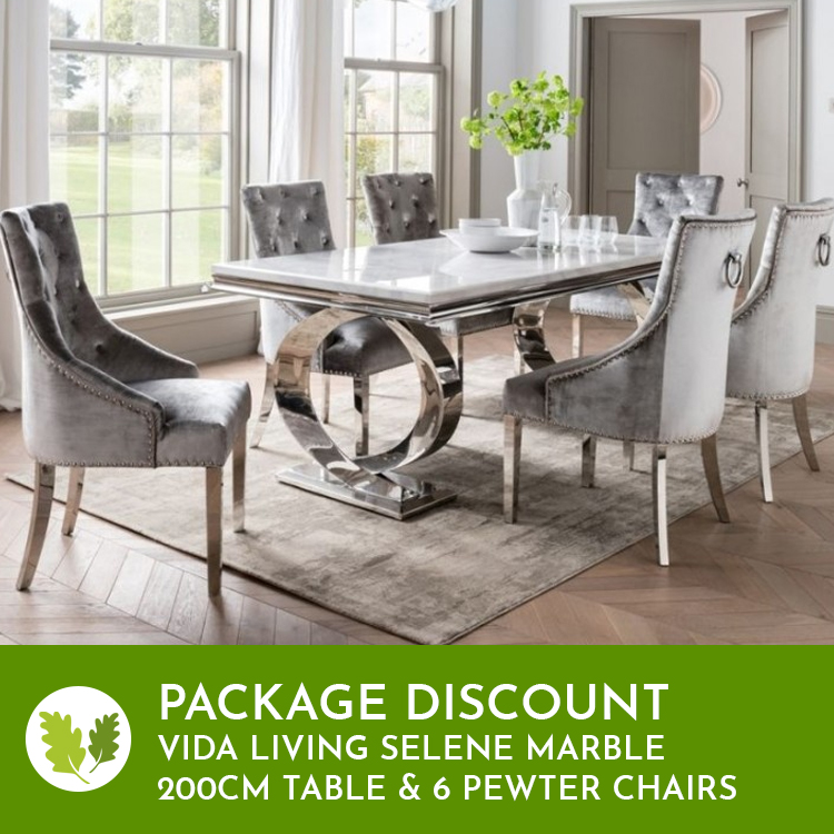 Vida Living Selene Bone White Marble Furniture 200cm Dining Table & 6 Belvedere Pewter Chairs