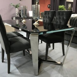 Vida Living Zola Stainless Steel & Glass 180cm Dining Table