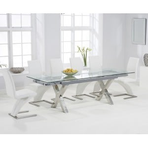 Cilento 160cm Glass Extending Cross Leg Table & White Z Chairs