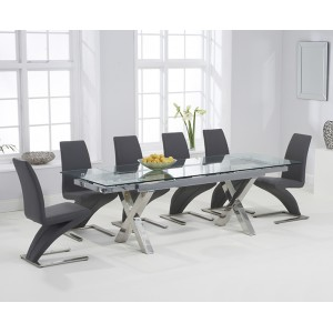 Cilento 160cm Glass Extending Cross Leg Table & Grey Z Chairs