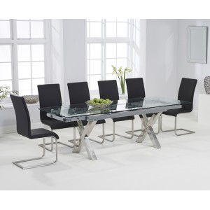 Cilento 160cm Glass Extending Cross Leg Table & Black Malibu Set