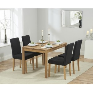 Promo Oak Furniture 120cm Dining Table & 4 Black Maiya Chairs