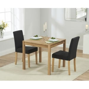 Promo Oak Furniture 80cm Dining Table and 2 Black Maiya Chairs