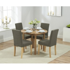 Promo Oak Furniture Round Extending Table & Brown Maiya Chairs