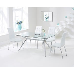 Salento Furniture 150cm Glass Dining Table & White California Chairs