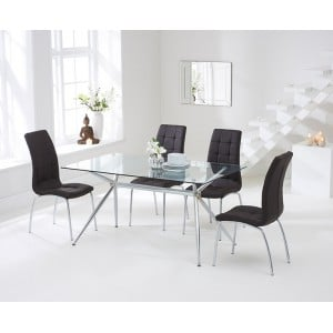 Salento Furniture 150cm Glass Dining Table & Brown California Chairs