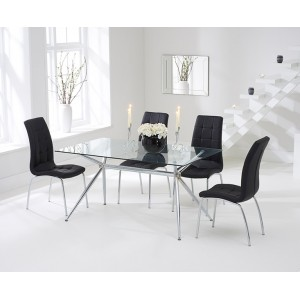 Salento Furniture 150cm Glass Dining Table & Black California Chairs