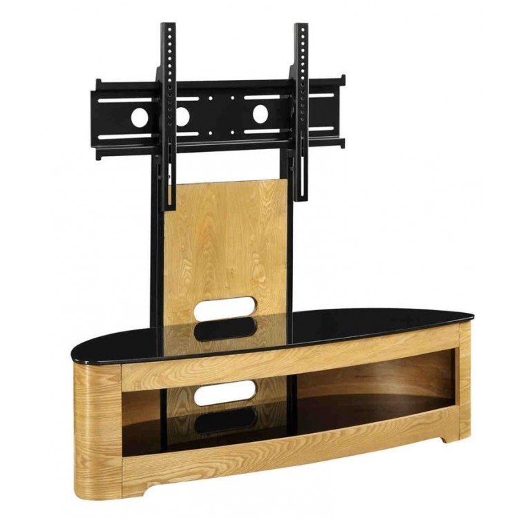 Jual Florence Oak Furniture Cantilever TV Stand with Tempered Glass