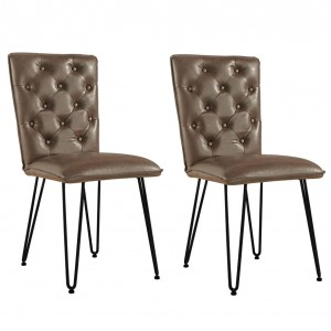 Metro Industrial Brown Studded Back Chair with Hairpin Legs (Pair)
