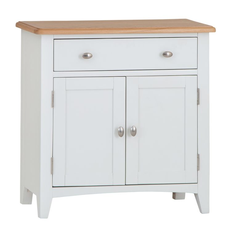 Galaxy White Painted Furniture 2 Door 1 Drawer Small Sideboard