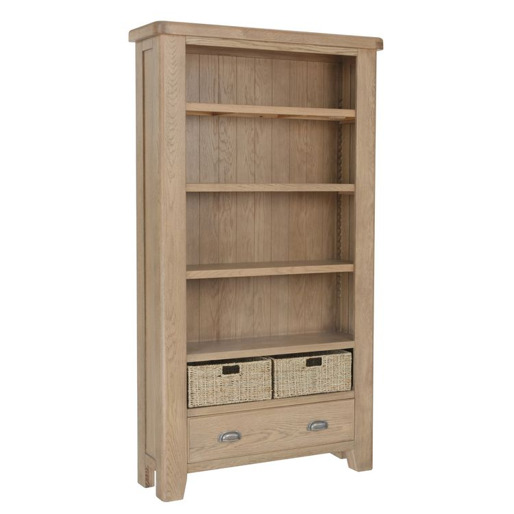 Heritage Smoked Oak Furniture Large Bookcase with Wicker Baskets