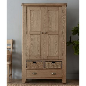 Heritage Smoked Oak Furniture Larder Unit with Wicker Baskets