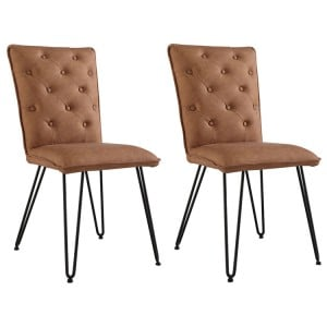 Metro Industrial Tan Studded Back Chair with Hairpin Legs (Pair)