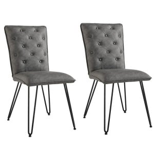 Metro Industrial Grey Studded Back Chair with Hairpin Legs (Pair)