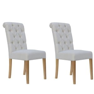 Livorno Collection Natural Button Back Dining Chair with Scroll Top (Pair)