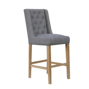 Livorno Collection Light Grey Fabric Button Back Stool with Studs