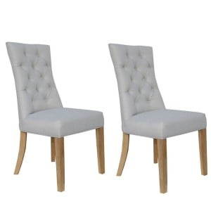 Livorno Collection Natural Curved Button Back Dining Chair (Pair)