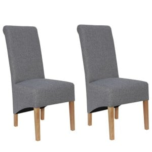 Livorno Collection Light Grey Scroll Back Fabric Dining Chair (Pair)