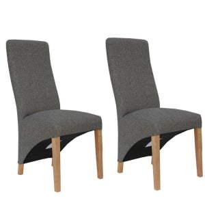 Livorno Collection Dark Grey Wave Back Fabric Dining Chair (Pair)