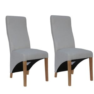 Livorno Collection Natural Wave Back Fabric Dining Chair (Pair)