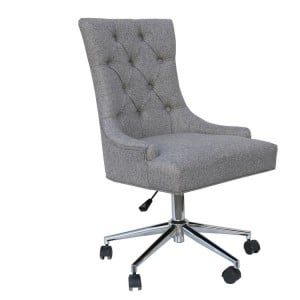 Livorno Collection Light Grey Fabric Winged Button Back Office Chair