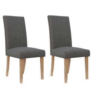 Livorno Collection Dark Grey Straight Back Fabric Dining Chair (Pair)
