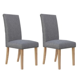 Livorno Collection Light Grey Straight Back Fabric Dining Chair (Pair)