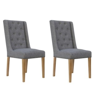 Livorno Collection Light Grey Button Back and Studded Dining Chair (Pair)