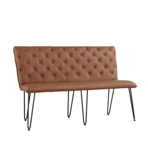 Metro Industrial Furniture Tan Leather Studded Back Bench 140cm