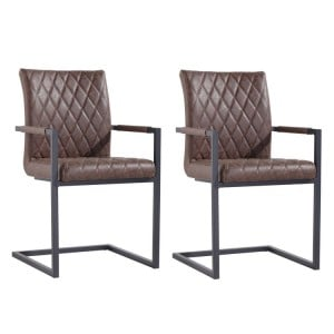 Metro Industrial Furniture Brown Diamond Quilted Carver Chair (Pair)