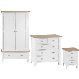 Tenby White Painted Furniture Double Wardrobe Bedroom Set