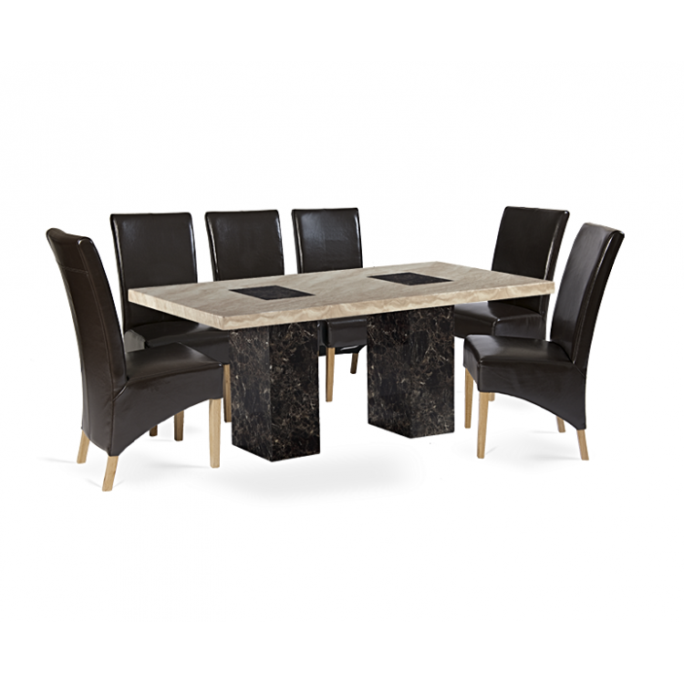 Bilbao 180cm Marble Dining Table & Roma Chair Set