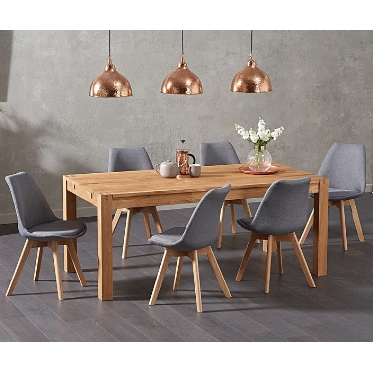 Verona Oak Extending Dining Table 150cm & Dannii Fabric Chairs Set