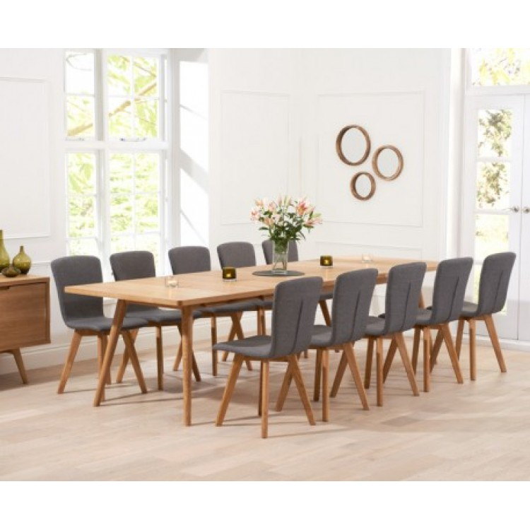 Tribeca Oak Extending Dining Table & 6 Fabric Chairs 200-300cm
