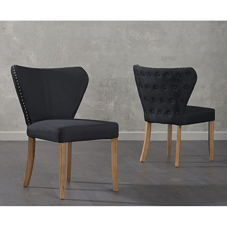 Isabella Black Fabric Dining Chairs Pair