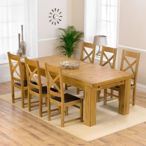 Laurent Oak 230cm XL Dining Table & Canterbury Chairs Set