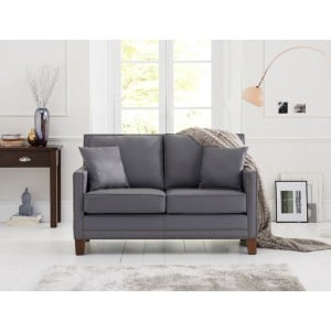 Arundel Contemporary Grey Leather 2 Seater Sofa